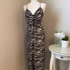 ZARA Striped Animal Print Dress *NWOT*